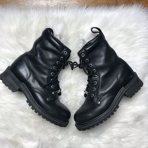 Harley Davidson Black Leather Biker Boots